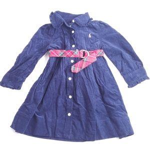 Ralph Lauren Girl's Corduroy Blue Dress Wool